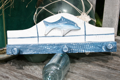 """OCEAN FISH"" HANGER - 12"" WHITE & BLUE NAUTICAL DECOR"