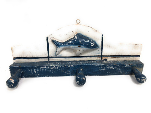 "Fish Hanger w/ 3 Pegs 12"" - Rustic Blue Nautical Decor 