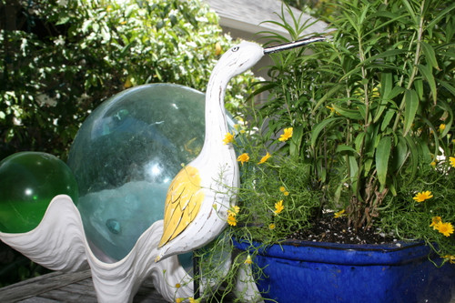 """EGRET BIRD"" - RUSTIC YELLOW COASTAL 14"" - GARDEN/HOME DECOR 5"