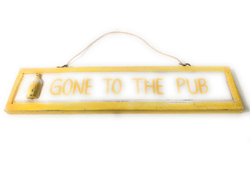 "Gone To The Pub 12"" Wooden Sign - Nautical Accent 