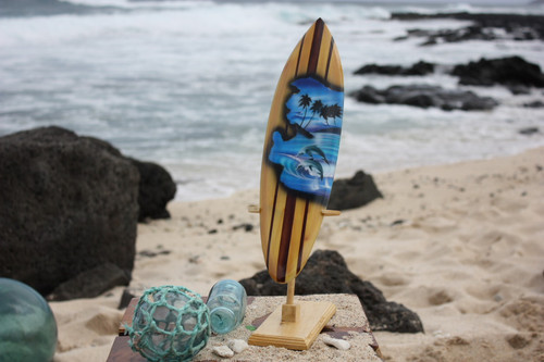 "Surfboard w/ Stand Dolphins Design 16"" - Trophy"