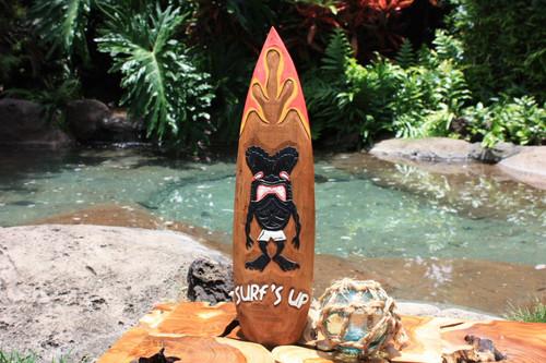 """Surf's Up"" Tiki Surfboard Sign - 20"" - Surf Decor"