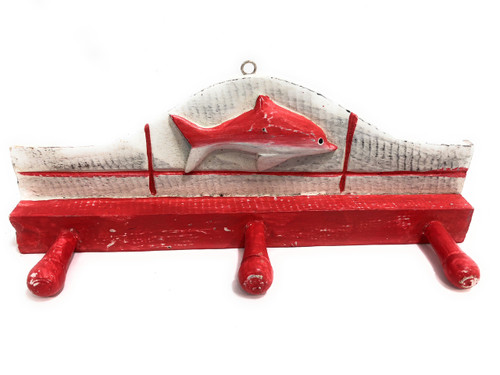 "Fish Hanger 12"" w/ 3 Pegs - Rustic Red Coastal Decor 