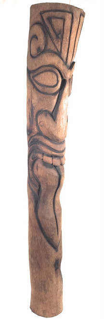 "Maori Tiki Totem Pole 60"" - Burnt Finish Technique 