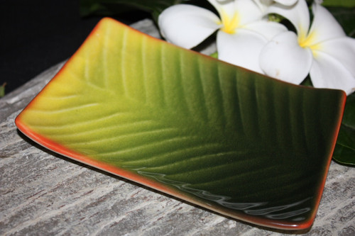 "Banana Leaf Ceramic Mini Dish Plate 5""X7"" - Hawaii 