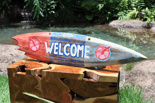 """""""Welcome"""" Shark Bite Surf Sign - 40"""" - Beach Decor"""