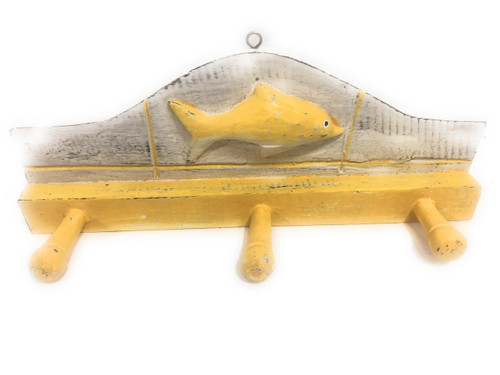 "Fish Hanger 12"" w/ 3 Pegs - Rustic Yellow Coastal Decor 