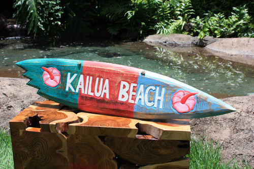 """Kailua Beach"" Shark Bite Surf Sign - 40"" - Beach Decor"