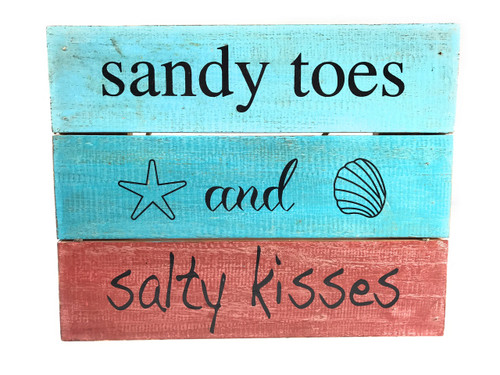 """Sandy Toes And Salty Kisses"" Beach Sign on Wood Planks 12"" X 9.5"" 