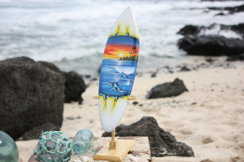 "Surfboard w/ Stand Dolphins In Shorebreak Design 16"" - Trophy"
