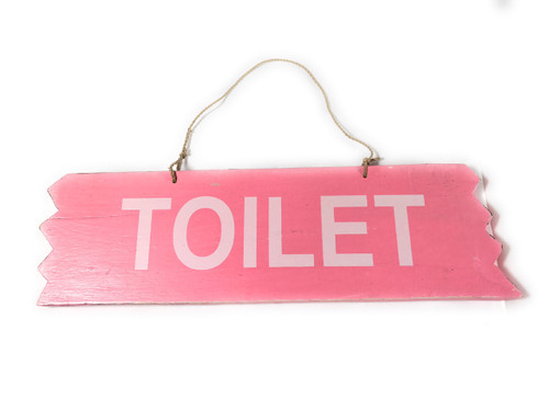 """Cute """"Toilet"""" Wooden Sign 12"""" X 4"""" - Pink 