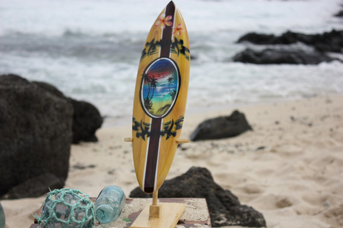 "Surfboard w/ Stand Palms & Plumeria Design 16"" - Trophy"
