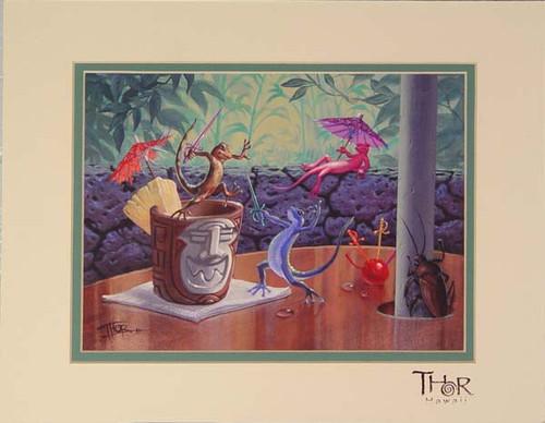"TABLE TOP TUSSLE 11"" X 14"" PRINT - THOR HAWAII"