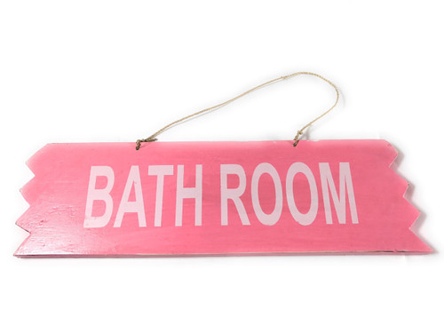 "Cute ""Bathroom"" Wooden Sign 12"" X 4"" - Pink 