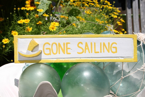 """GONE SAILING"" NAUTICAL SIGN 12"" YELLOW - NAUTICAL DECOR"