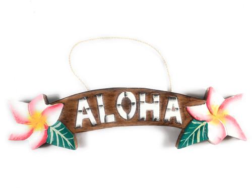"""Aloha"" Sign w/ Plumeria Flowers 9.5"" - Hawaiiana Decor | #snd25121"