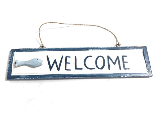 "Welcome Nautical Sign 12"" Red w/ Fish - Wall Hanging 