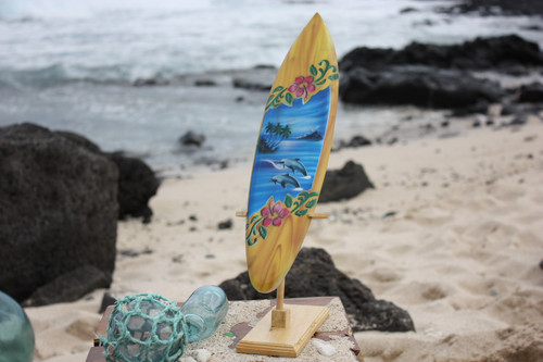 """Surfboard w/ Stand Dolphins & Hibiscus Design 16"""" - Trophy"""