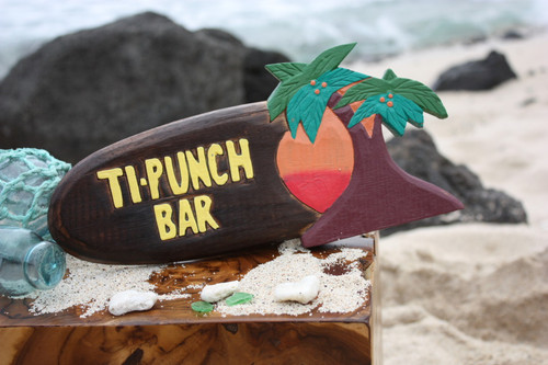"Tiki Bar Ti-Punch Sign 12"" - Hanging Happy Hour Signage 