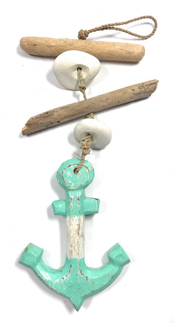 "Driftwood Garland Anchor w/ White Stone 12"" Turquoise 