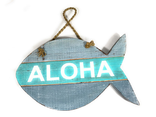 """Aloha"" Beach Sign Fish on Wood Planks Blue/Mint 13"" X 8"" 