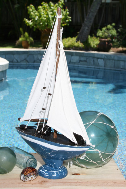 """SAILBOAT"" BLUE COASTAL 16"" - HAND CARVED - NAUTICAL DECOR"