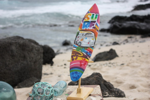 "Surfboard w/ Stand 70's VW Van Design 16"" - Trophy"