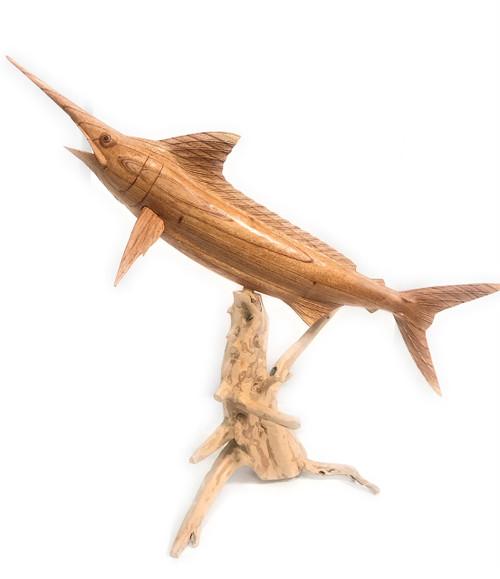 Blue Marlin Hand Carved On Drift Wood Base - Island Art   #ton03