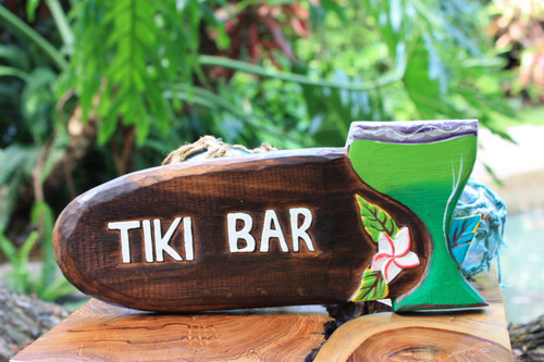 Tiki Bar sign w/ Margarita Cocktail | #snd2503430