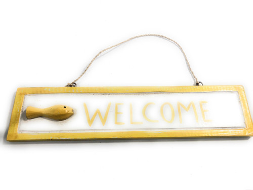 "Welcome Nautical Sign 12"" Yellow W/ Fish - Wall Hanging 