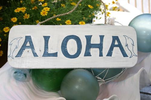 """ALOHA"" BEACH SIGN 14"" - RUSTIC WHITE & BLUE - COASTAL DECOR"
