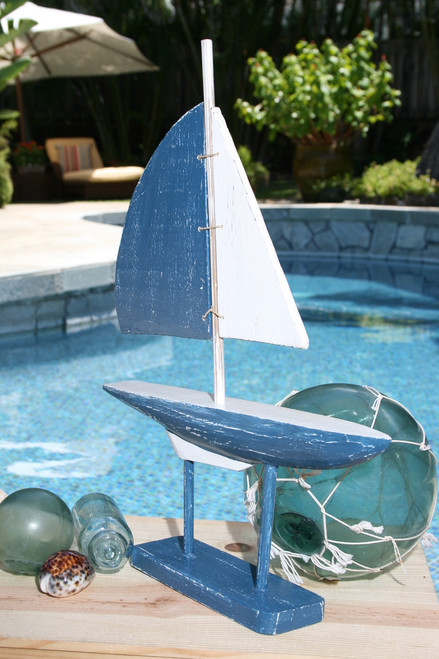 """RACING SAIL BOAT"" BLUE NAUTICAL 20"" - HAND CARVED - COASTAL DECOR"