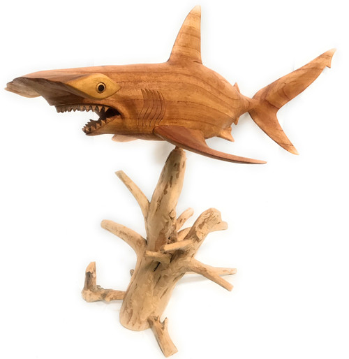 "Large Hammerhead Shark Carving 40"" - Natural Drift Wood Base 