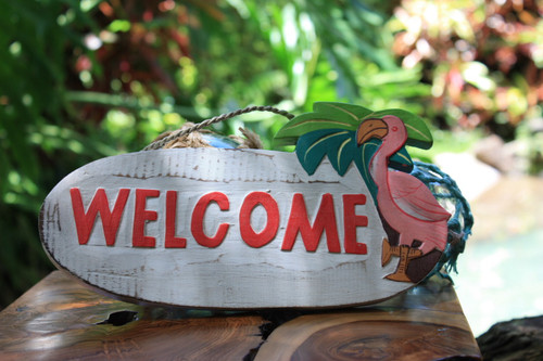 """Welcome"" with Flamingo Sign - Tiki Bar Decor   #snd2503626"