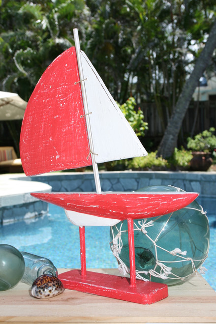 """RACING SAIL BOAT"" RED NAUTICAL 20"" - HAND CARVED - COASTAL DECOR"