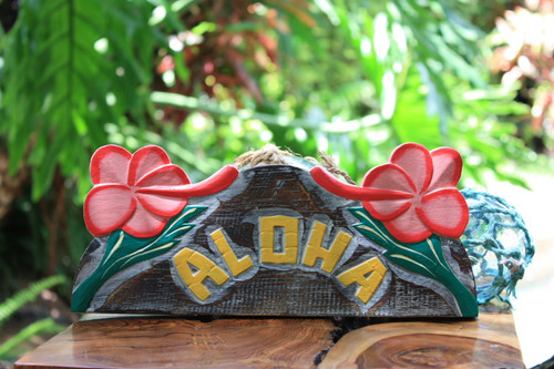 """Aloha"" with Hibiscus Sign - Hawaiian Decor"