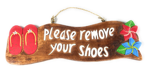 """Please Remove Your Shoes"" Beach Sign w/ Slippers 17"" - Red 
