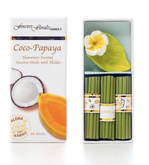 Coco Papaya Incense Sticks w/ Ceramic Holder | #tw51290