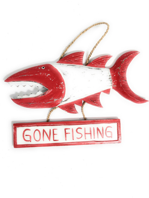 Gone Fishing Sign 40 Shark Attack Rustic Yellow Nautical Decor Fascinating Gone Fishing Signs Decor