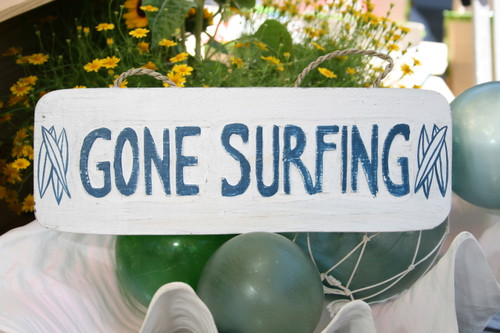 """GONE SURFING"" BEACH SIGN 14"" - RUSTIC WHITE & BLUE - COASTAL DECOR"
