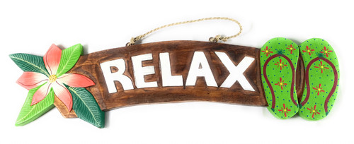 """Relax"" Beach Sign w/ Plumeria & Slippers 18"" - Green 