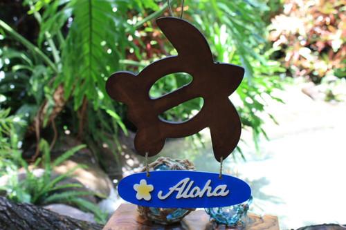"""Aloha"" with Plumeria & Turtle Wooden Sign - Hawaiian Decor"