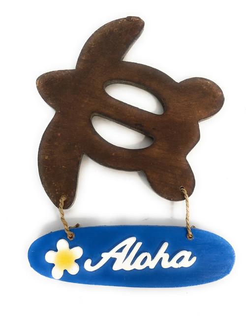 """Aloha"" with Plumeria & Turtle Wooden Sign - Hawaiian Decor | #snd2503920"
