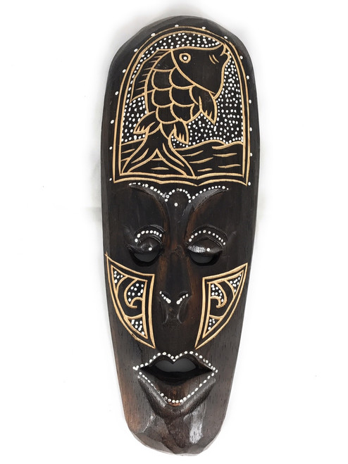 "Tribal Chief Mask 12"" w/ Fish - Tiki Primitive Art 