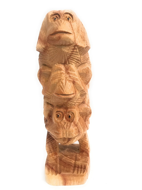 """3 Wise Monkeys"" Hear Speak See No Evil 8"" Totem Hand Carved 