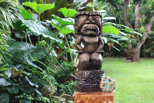 Stacked Tiki Ku And Kanaloa 26in Stained | Outdoor Tiki Statue