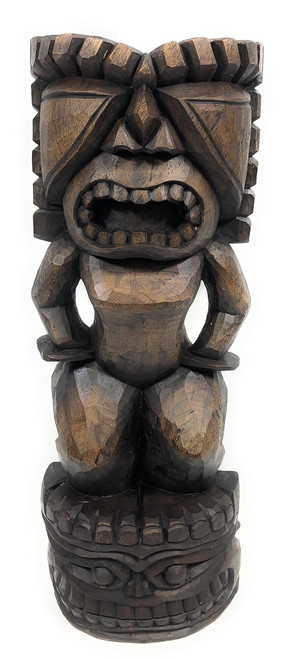 "Stacked Tiki Ku & Kanaloa 26"" Stained - Outdoor Tiki Statue 