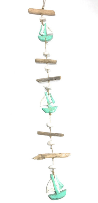 "Driftwood Garland Boat w/ White Stone 40"" Turquoise 