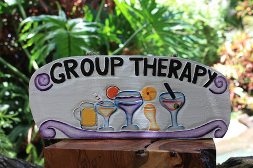 "Tiki Bar ""Group Therapy"" Happy Hour Sign 16"" 