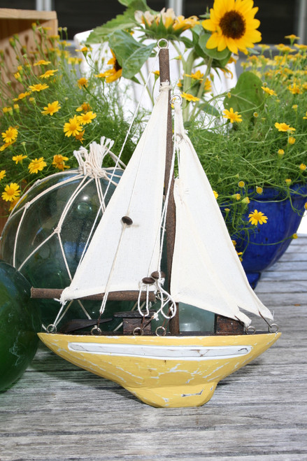 """SAILBOAT"" WALL HANGING YELLOW COASTAL 12"" - NAUTICAL DECOR"